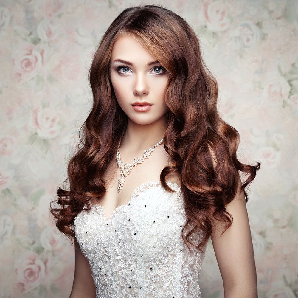 wedding curly hair style on brown hair | pure hair design
