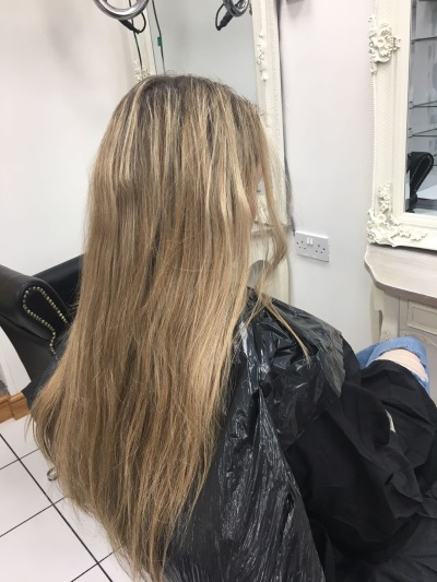 Long Blonde Hair with Brown Roots